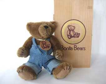 Bonita Bear, Bonita Bear Owen, collector bear, stuffed animal, stuffed bear, limited edition bear, Boy Stuffed Bear, Nursery Decor, Toy