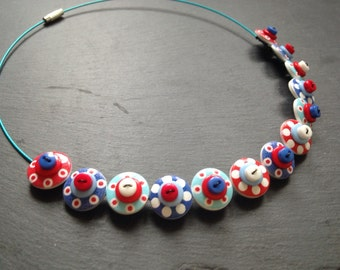 Spotty Sputnik Polkadot Choker Necklace Button Necklace Nautical