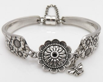 Satin Finish Sunflower Bracelet with Silver Plated Sunflower and Bee Charm