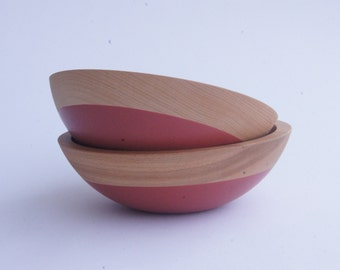 """CLEARANCE 8"""" Wooden Popcorn Bowl Set of 2 By Wind and Willow Home, Deep Red, Wedding Gift, House Warming Gift, Neon"""