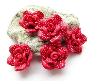 Polymer Clay Fimo Rose Beads Fimo Red White Rose Beads Rose Flower 20 mm Rose Fimo Beads Jewelry Supply (4)