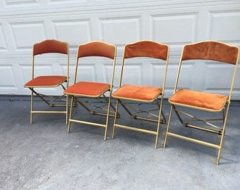 UPHOLSTERED FOLDING CHAIRS Folding Vintage Bridge Chairs Rust Gold Chair 2 Crushed Velvet 2 Knubby Fabric  at Ageless Alchemy