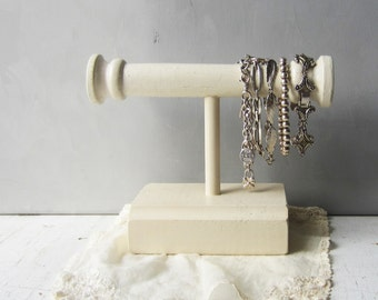 SALE Cream Bracelet Bar - Bracelet Holder / Display - Made from Architectural Salvage Spindle - Jewelry Storage - Quantities READY to SHIP