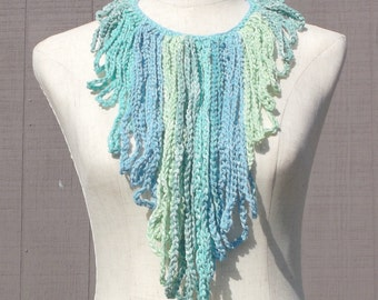 Handmade Fringe Necklace , Cotton Fringe necklace , Blue and Green necklace , Gift for Her , Gift under 20