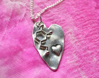 Biolojewerly -  Dopamine Neurotransmitter Heart Love Molecule Necklace