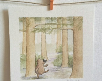 Watercolor of bear in forest a small original painting