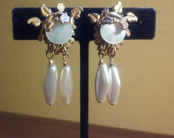 Miriam Haskell Floral Gold Filigree, Mother Of Pearl and Faux Pearl Dangle Earrings