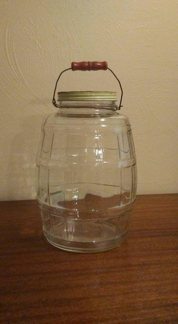 2 1 2 Gallon Antique Glass Pickle Jar With Wire Bail Amp Red