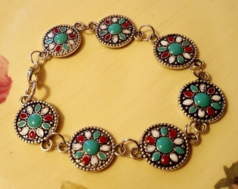 BRACELET: Beautiful Turquoise and Red Flower Indian Silver Chain Link  Beaded Bracelet
