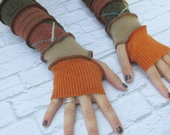 Long Fingerless Gloves - Recycled Sweaters - Upcycled Clothing - Hippie Clothes -  Gypsy Soul - Arm Warmers - Festival Clothing - Boho