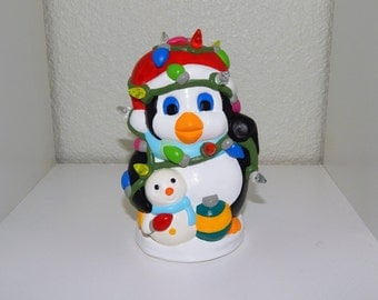 Hand Painted Plaster Light Up Christmas Penguin Figurine
