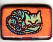 Hand Painted Kitty Cat  RFID Blocking  Wallet