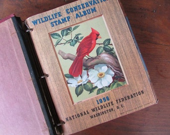 Wildlife Stamp Album Vintage 1958 to 1968 National Wildlife Federation