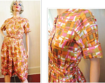 Vintage 50s 60s Dress, Orange Pink Brown Abstract Print, Tony Hunt, Pleated Skirt, Mid Century Retro Dress Eames Mod Print, Big Button