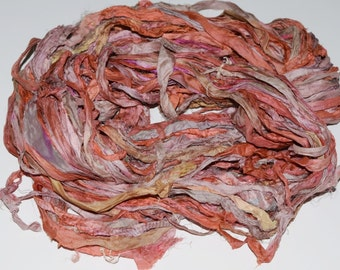 Recycled Sari Silk Ribbon Yarn,3.5 oz / 100 grams, Bulky,  Peachy Rose multi