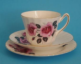 Royal Sutherland vintage rose tea trio / tea cup saucer and cake plate set. Mid-century 1950s / 1960s bone china