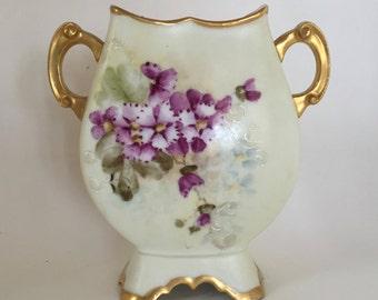 D&C France Vase / Vintage Cream Porcelain Vase w/ Flowers and Angels Gold gilt