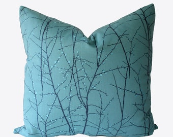 NEW Decorative Designer, Embroidered Turquoise, Abstract Pillow Cover,  Aqua, 18x18, 20x20, 22x22 or Lumbar Throw Pillow