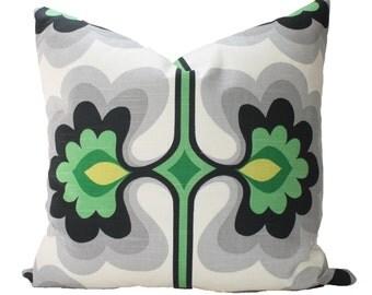 Decorative Designer HGTV Pillow Cover, Grey, Green Modern Abstract, 18x18, 20x20, 22x22 or Lumbar Throw Pillow