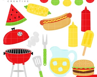 SALE! BBQ, Barbecue, Summer, Grill, Cute Clipart, Personal & Small Commercial Use, Vector Clip Art, Instant Download, png, jpeg, eps