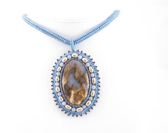 Blue agate cabochon bead embroidered with pearls agelite and delicas