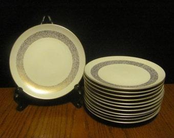 "Twelve Mikasa ""Silhouette"" Desert Plates Gold Speckled Rims"