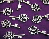 10 Silver Key Charms, 33mm x 14mm CH010