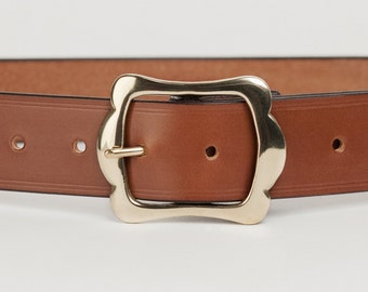 Mid Brown Bridle Leather Belt with 1.5 inch Scallop Buckle