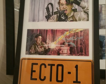 3 Framed Ghostbuster prints with License Plate