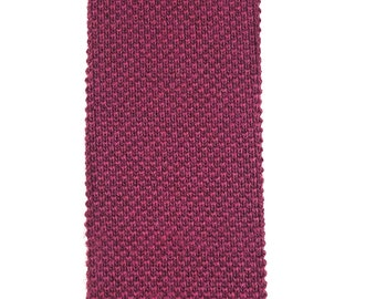 Thin Burgundy Waffle Knit Tie with Square End Vintage