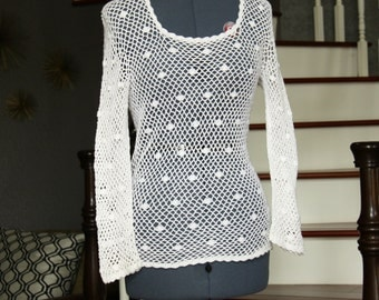 Crochet Vintage Top - White Top - White Crochet Top - Long sleeve Tunic