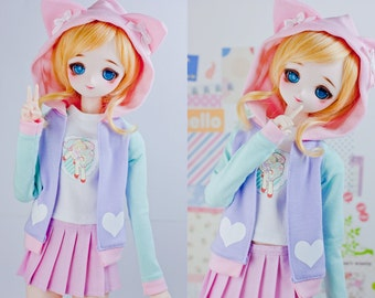 Slim MSD or SD BJD hoodie - Pink, Mint, and Light Pink with Cat Ears Hoodie Jacket