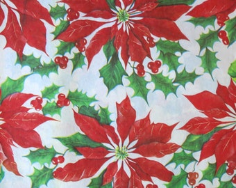 Vintage Ben-Mont Mid-Century CHRISTMAS Gift Wrap - Wrapping Paper - Pretty POINSETTIAS and Holly BERRIES - with gift tag - 1950s