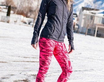Full, Cropped or Capri Inspire Athletic Tights in Hot Pink and Plum Nylon Lycra fabric from Gogreenstyle