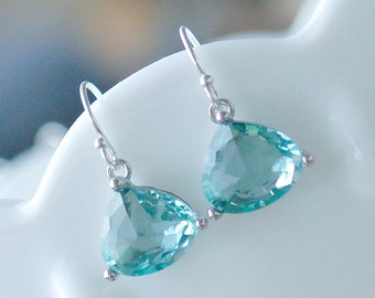 Sea Green Amethyst Drop Earring in Silver - Prasiolite Green Drop on 925 Sterling Silver Earwire - Green Aqua Drop Earrings