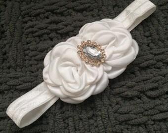 White Satin Flower headband, White Stretch Headband, photo prop headband, white flower headband, Flowergirl headband, Baptism headband
