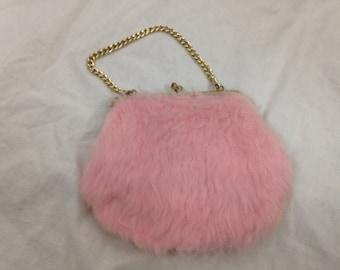 pink fuzzy furry purse
