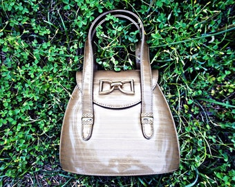 VTG-  Classy, Vintage, 1980s, Top Handle, Bowler Inspired, Variegated Kaki Handbag with Gold Toned Accents, Dome Shaped, 1950s Style
