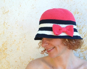 Wide brim summer hat with bow, crochet cloche, cotton hat in navy style: coral, dark blue and white