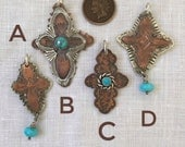 Sacred Remnants - B - Turquoise Sterling Copper Cross - Tribal Boho Ready to Ship by ShesSoWitte