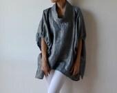RESERVED for Assunta. Metallic chambray linen top / linen tunic / linen blouse / plus size linen / maternity linen / linen clothes
