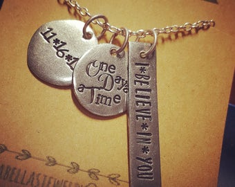 One day at a time; sobriety necklace