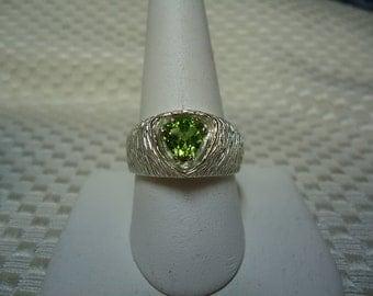 Trillion Cut Peridot Ring in Sterling Silver