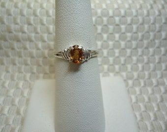 Oval Cut Yellow Zircon Ring in Sterling Silver   #1649