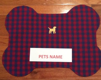 Dog Placemat - Personalized Dog Placemat -  Embroidered Name -  Handmade