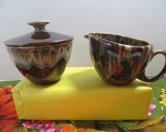 Canonsburg Pottery Brownstone Creamer and Covered Sugar Bowl