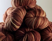 Chocolate Hand Dyed Yarn, worsted merino wool, brown yarn