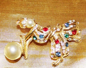 Exceptional Vintage Designer ARTICULATED FAUX PEARL Rhinestone Clown Brooch Bu
