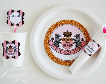 Juicy Couture Plate Stickers You Print Juicy Couture Birthday Party Juicy Couture Baby