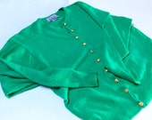 Vintage Cashmere Cardigan, Ballantyne of Scotland, Ladies Cashmere Sweater, Green with Gold Buttons, Beautiful